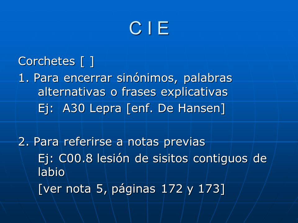 C I E Corchetes [ ] 1. Para encerrar sinónimos, palabras alternativas o frases explicativas. Ej: A30 Lepra [enf. De Hansen]